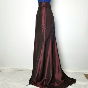 LAUNDRY Iridescent Maroon Formal Maxi Skirt